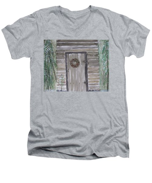Christmas Card No.3 Rustic Cabin Men's V-Neck T-Shirt
