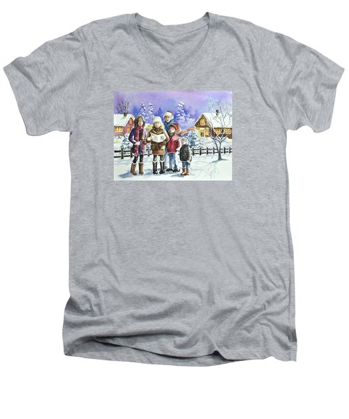 Christmas Family Caroling Men's V-Neck T-Shirt