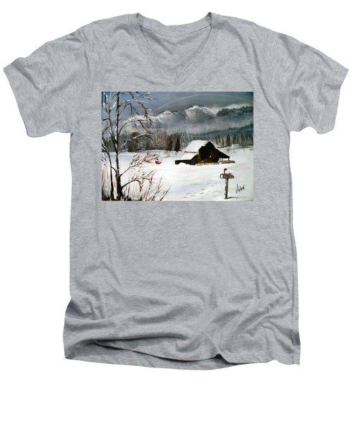 Christmas Farm House Men's V-Neck T-Shirt