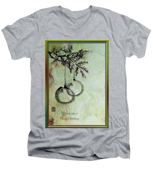 Men's V-Neck T-Shirt featuring the painting Christmas Greeting Card With Ink Brush Drawing by Peter v Quenter