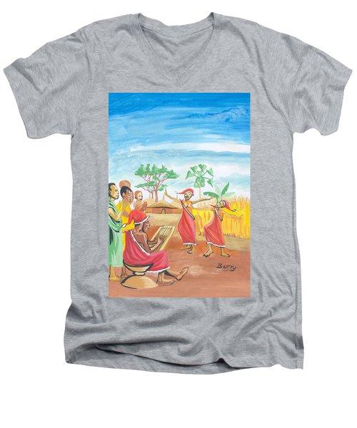 Men's V-Neck T-Shirt featuring the painting Christmas In Rwanda by Emmanuel Baliyanga