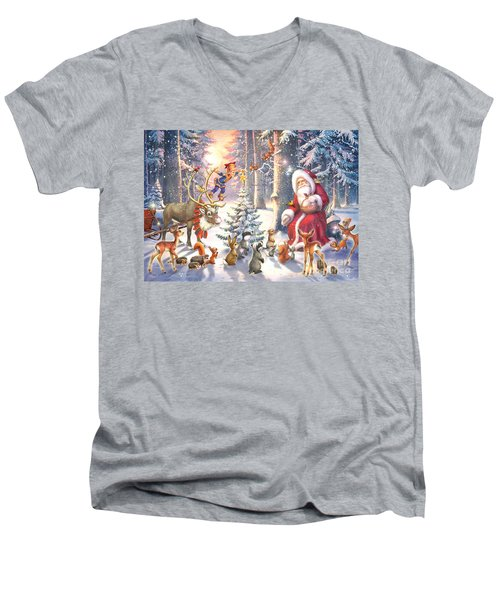 Christmas In The Forest Men's V-Neck T-Shirt