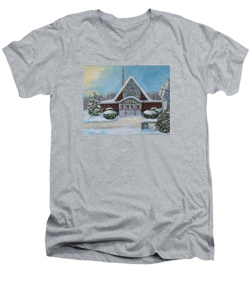 Christmas Morning At Our Lady's Church Men's V-Neck T-Shirt by Rita Brown