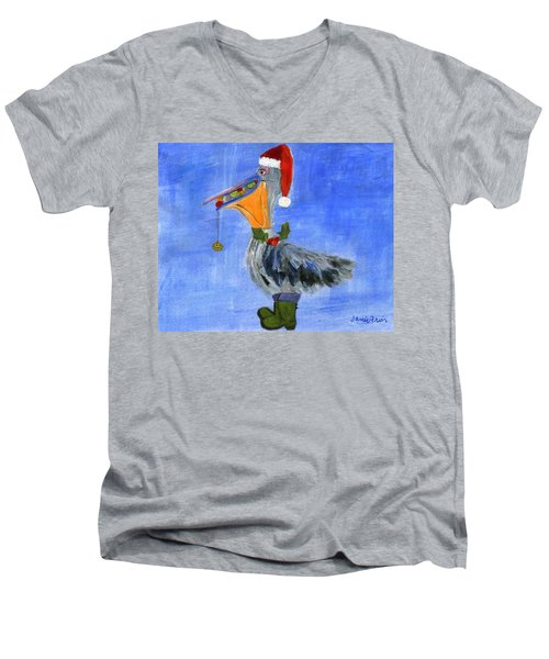 Christmas Pelican Men's V-Neck T-Shirt