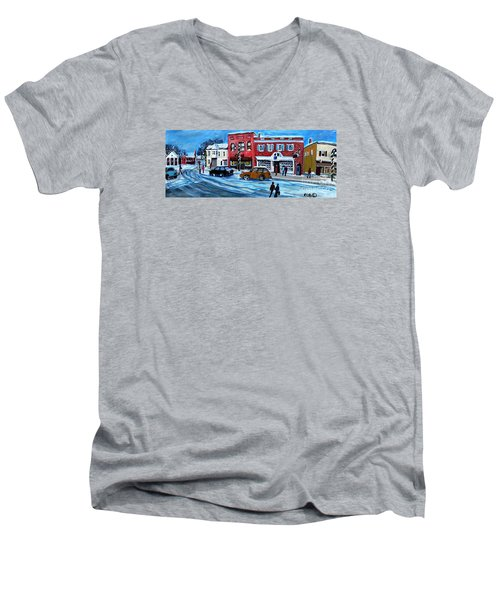 Men's V-Neck T-Shirt featuring the painting Christmas Shopping In Concord Center by Rita Brown