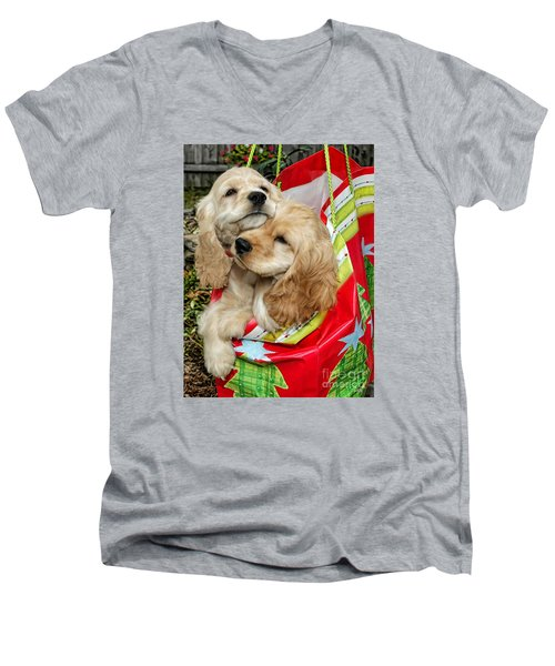 Men's V-Neck T-Shirt featuring the photograph Christmas Shopping by Sami Martin
