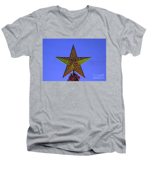 Men's V-Neck T-Shirt featuring the photograph Christmas Star During Dusk Time by George Atsametakis