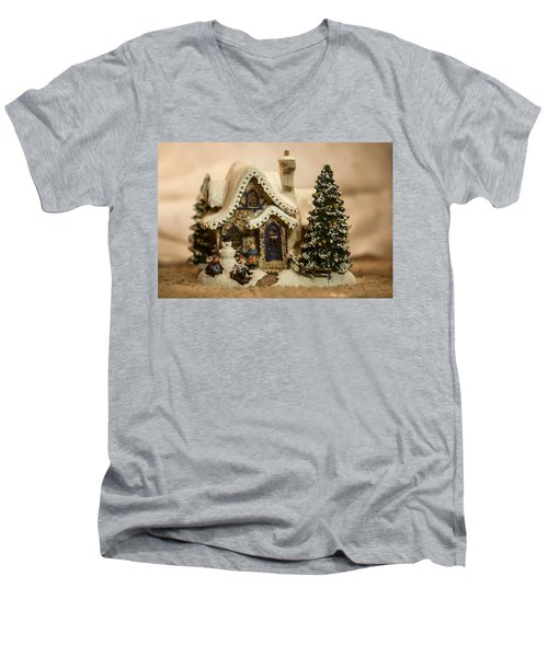 Men's V-Neck T-Shirt featuring the photograph Christmas Toy Village by Alex Grichenko