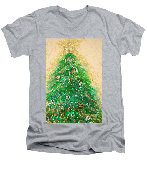Christmas Tree Gold By Jrr Men's V-Neck T-Shirt