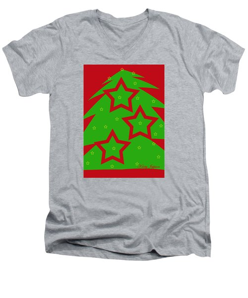 Christmas Tree Stars Men's V-Neck T-Shirt