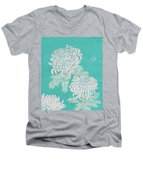 Men's V-Neck T-Shirt featuring the painting Chrysanthemums And Butterflies by Stephanie Grant