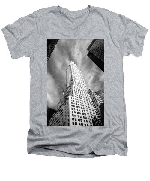 Chrysler Building Infrared Men's V-Neck T-Shirt