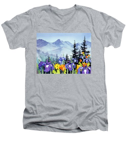 Men's V-Neck T-Shirt featuring the painting Chugach Summer by Teresa Ascone