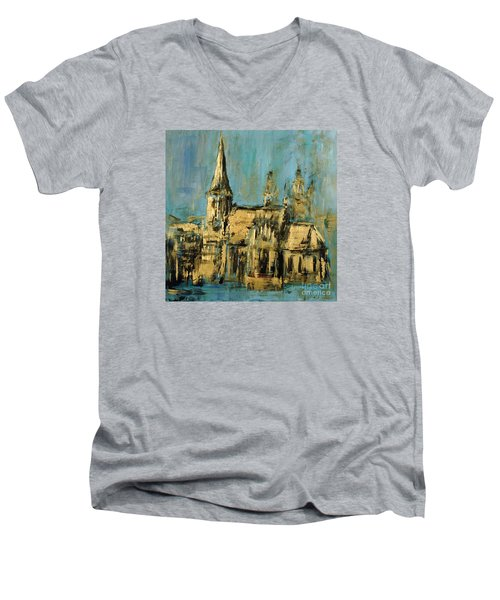 Men's V-Neck T-Shirt featuring the painting Church by Arturas Slapsys