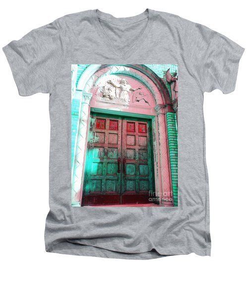 Men's V-Neck T-Shirt featuring the photograph Church Door by Becky Lupe
