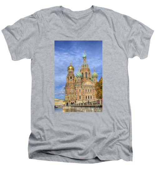 Church Of The Saviour On Spilled Blood. St. Petersburg. Russia Men's V-Neck T-Shirt