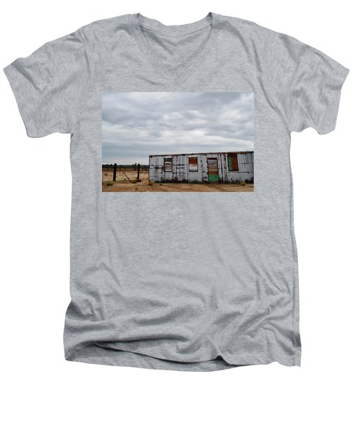 Cima Union Pacific Railroad Station Men's V-Neck T-Shirt by Kyle Hanson