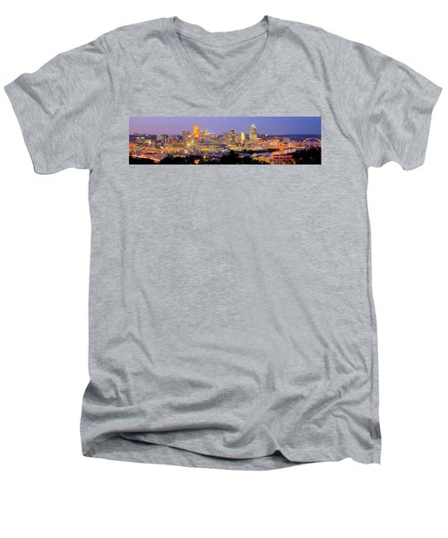 Men's V-Neck T-Shirt featuring the photograph Cincinnati Skyline At Dusk Sunset Color Panorama Ohio by Jon Holiday