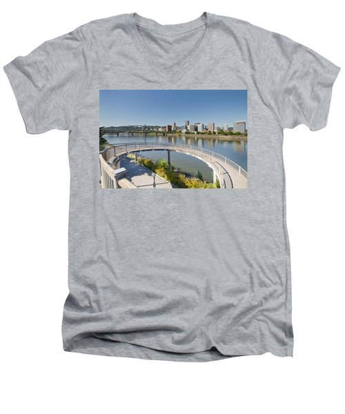 Men's V-Neck T-Shirt featuring the photograph Circular Walkway On Portland Eastbank Esplanade by JPLDesigns