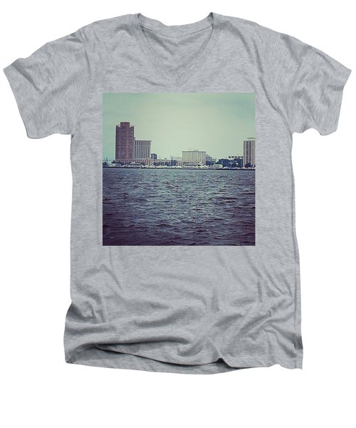 Men's V-Neck T-Shirt featuring the photograph City Across The Sea by Thomasina Durkay