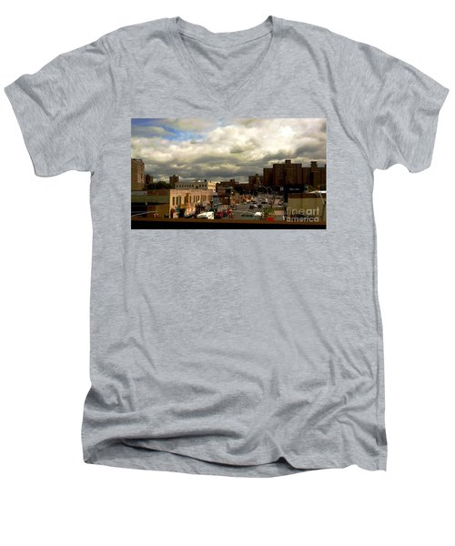 Men's V-Neck T-Shirt featuring the photograph City And Sky by Miriam Danar