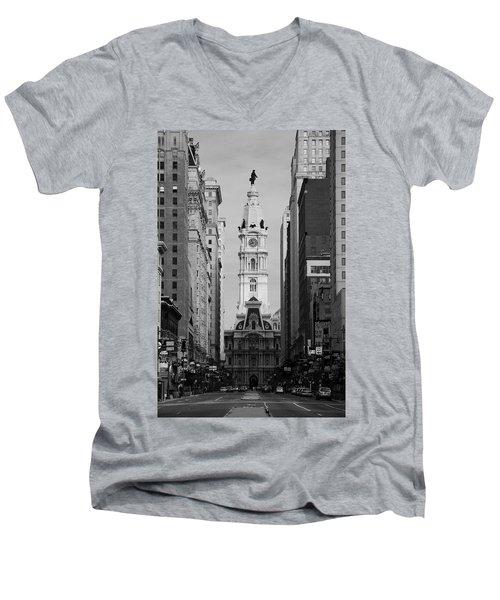 Men's V-Neck T-Shirt featuring the photograph City Hall B/w by Jennifer Ancker