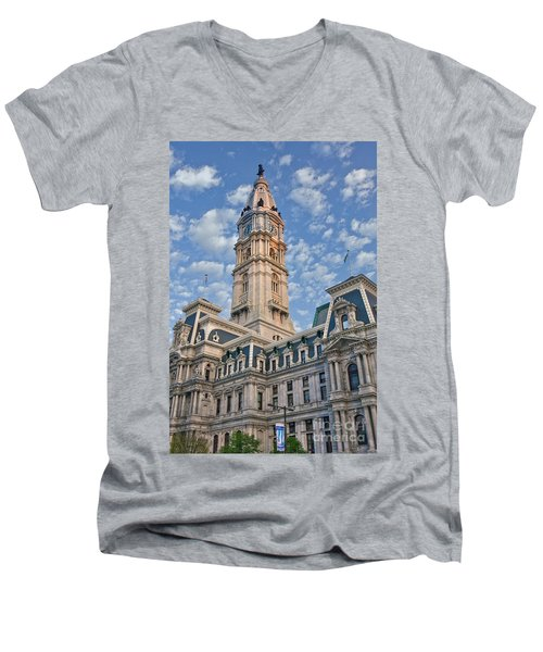 City Hall Clock Tower Downtown Phila Pa Men's V-Neck T-Shirt
