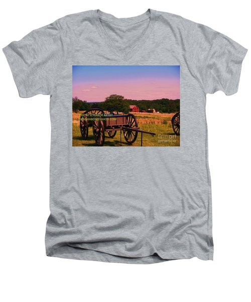 Civil War Caisson At Gettysburg Men's V-Neck T-Shirt by Eric  Schiabor