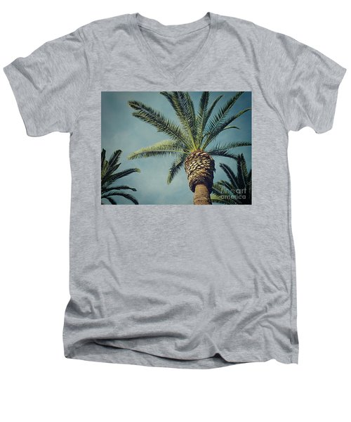 Men's V-Neck T-Shirt featuring the photograph Classic Palms2 by Meghan at FireBonnet Art
