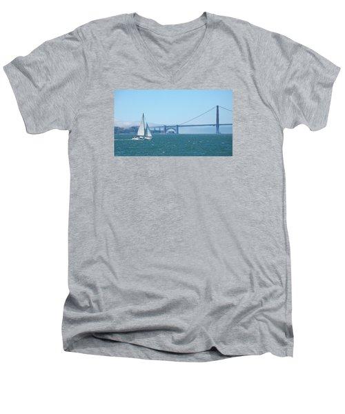 Classic San Francisco Bay Men's V-Neck T-Shirt by Connie Fox