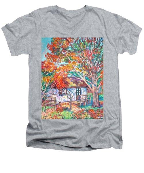 Claytor Lake Cabin In Fall Men's V-Neck T-Shirt