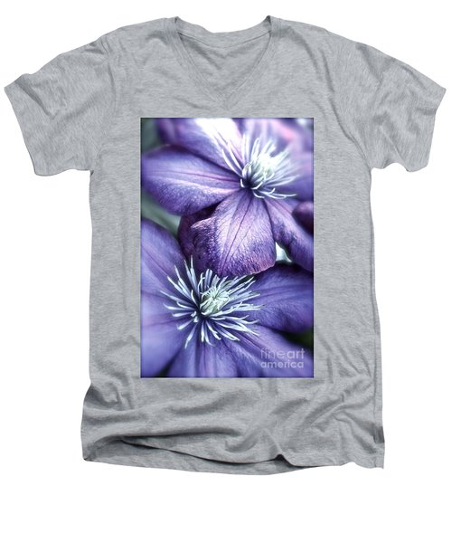 Clematis Men's V-Neck T-Shirt by Linda Bianic