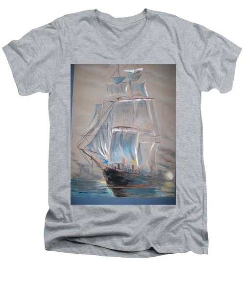 Men's V-Neck T-Shirt featuring the mixed media Clipper In Mist by Peter Suhocke