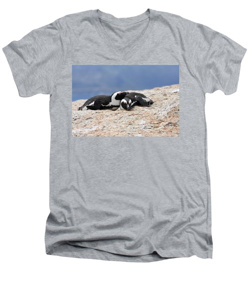 Close Bonds, African Penguin Men's V-Neck T-Shirt