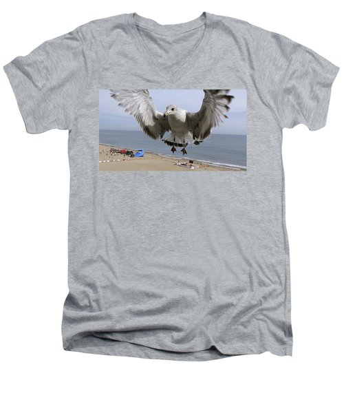 Closeup Of Hovering Seagull Men's V-Neck T-Shirt