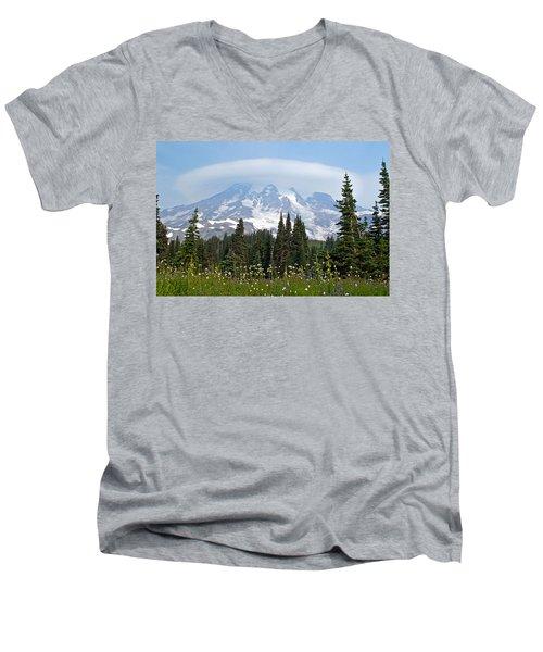 Cloud Capped Rainier Men's V-Neck T-Shirt by Tikvah's Hope