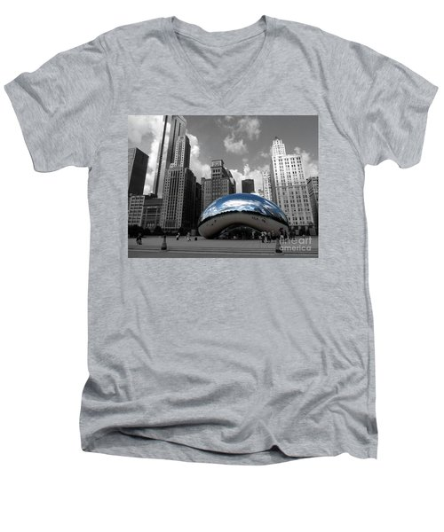 Cloud Gate B-w Chicago Men's V-Neck T-Shirt by David Bearden