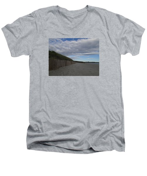 Men's V-Neck T-Shirt featuring the photograph Clouded Beach by Robert Nickologianis