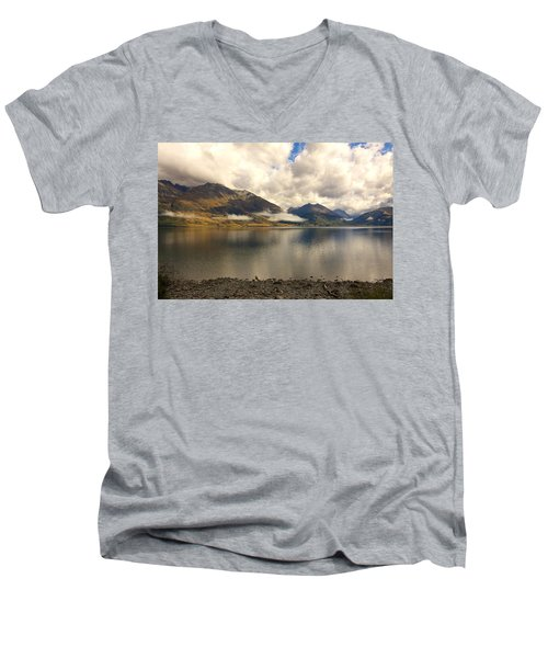 Men's V-Neck T-Shirt featuring the photograph Clouds Over Wakatipu #1 by Stuart Litoff