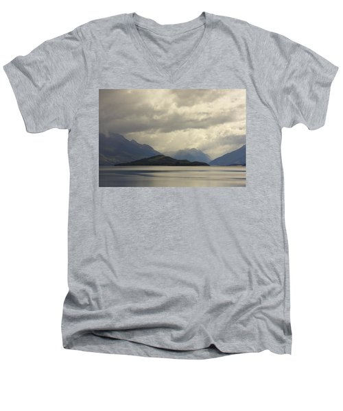 Men's V-Neck T-Shirt featuring the photograph Clouds Over Wakatipu #2 by Stuart Litoff