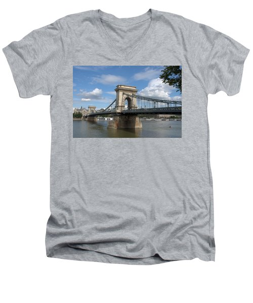Men's V-Neck T-Shirt featuring the photograph Clouds Sky Water And Bridge by Caroline Stella