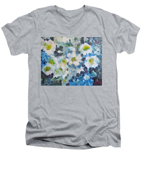 Men's V-Neck T-Shirt featuring the painting Cluster Of Daisies by Richard James Digance