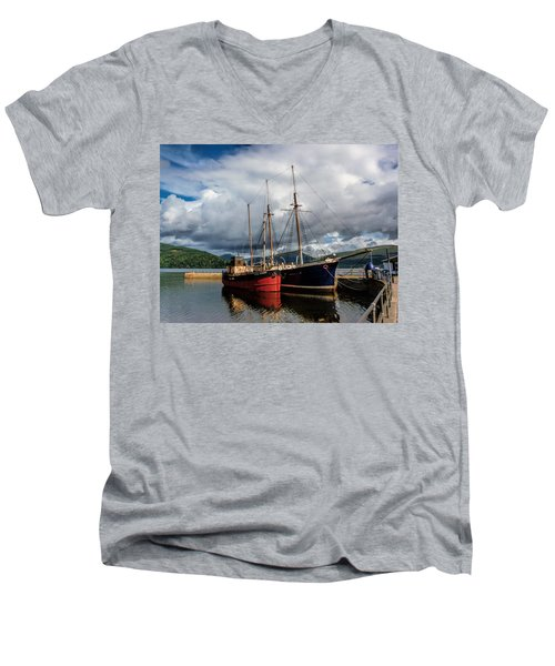 Clyde Puffer Men's V-Neck T-Shirt by Lynn Bolt