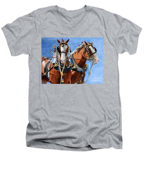 Clydesdale Duo Men's V-Neck T-Shirt by Debbie Hart