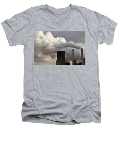 Coal Power Station Blasting Away Men's V-Neck T-Shirt