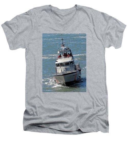 Coast Guard At Depot Bay Men's V-Neck T-Shirt by Chris Anderson
