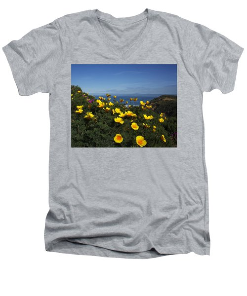 Coastal California Poppies Men's V-Neck T-Shirt