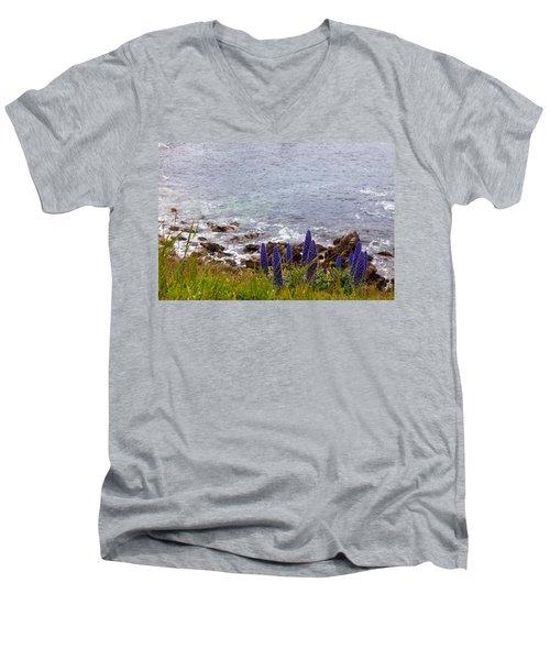 Coastal Cliff Flowers Men's V-Neck T-Shirt by Melinda Ledsome