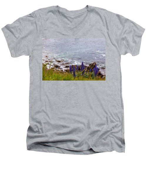Coastal Cliff Flowers Men's V-Neck T-Shirt