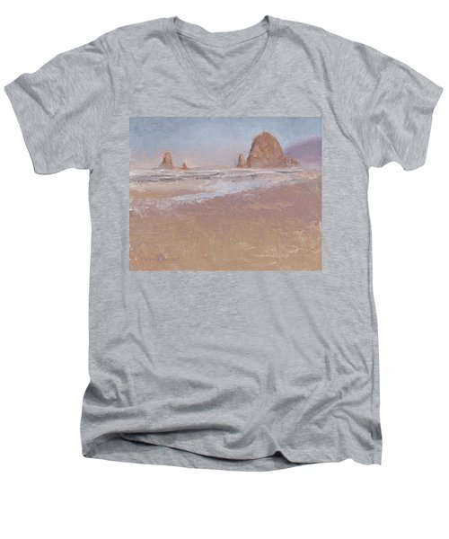 Coastal Escape  Cannon Beach Oregon And Haystack Rock  Men's V-Neck T-Shirt